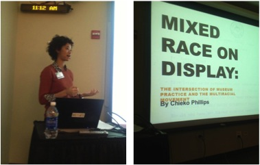 "Cheiko Phillips presenting her paper ""Mixed Race on Display"" at the 2012 CMRS Conference.  Photo credit: Cheiko Phillips."