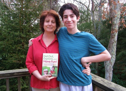 "The author with her son and her book "" ."" Photo courtesy: Lisa Jo Rudy"