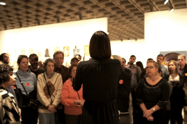 Participants on a Whitney Signs tour experience the 2012 Biennial in American Sign Language. Photograph by Jade Hankinson.