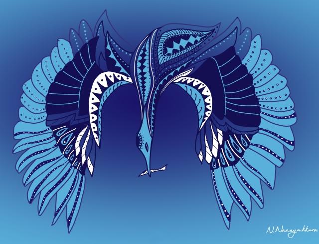 Nishali Nanayakkara, Hunting Heron, Batik-style illustration