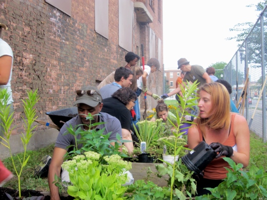 "Supporters from across Chicago participate in the Museum's first ""Greening the Grounds"" in August 2014. Photo Credit: NPHM."