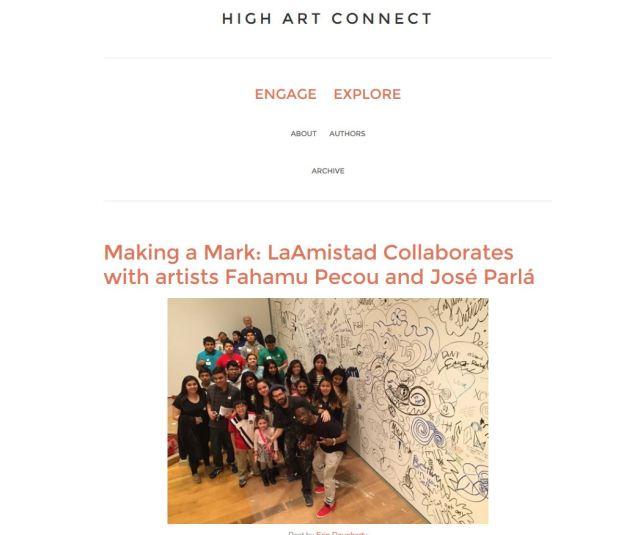 High Art Connect Blog. Screen Capture: Nina Pelaez.
