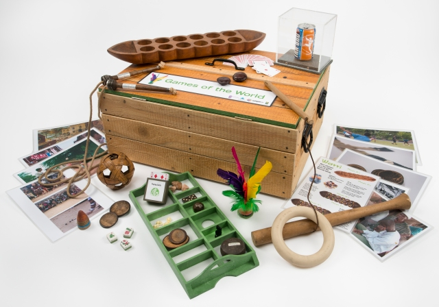 One of over 80 different kits, the Games of the World handling kit is one of the Open Museum's newest kits, and was developed to help celebrate the 2014 Commonwealth Games, held in Glasgow. Photo credit Glasgow Museums