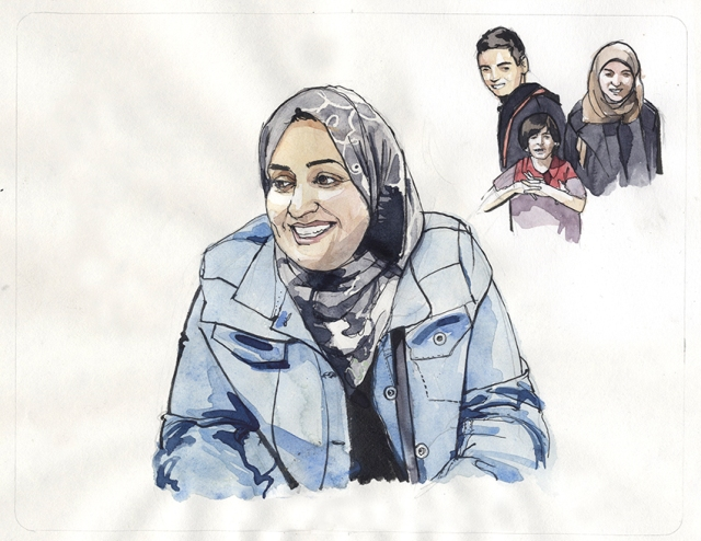 Salma arrived in Glasgow in 2010, with her husband and children. She has been working with the Open Museum, sharing her story and working with illustrator Wil Freeborn to create artworks reflecting key moments of her journey to, and life in Glasgow. Illustration credit Wil Freeborn