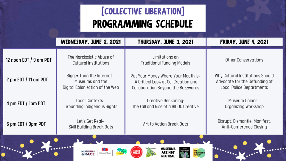 Collective Liberation Program Schedule (full list of sessions are listed below.)